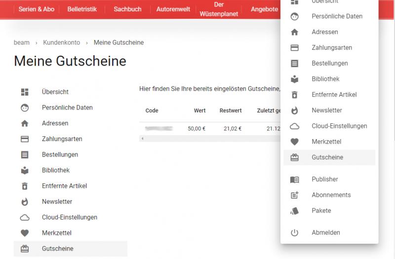 eBook Gutschein Restwert im Konto überprüfen