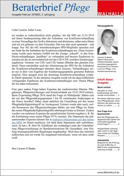 Beraterbrief Pflege Ausgabe Februar 2018/3