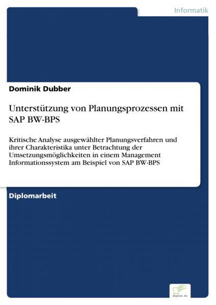 Unterstützung von Planungsprozessen mit SAP BW-BPS