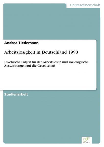 Arbeitslosigkeit in Deutschland 1998