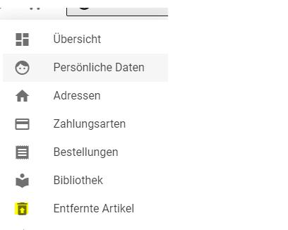 Wiederherstellung von entfernten Artikeln: Das Bild zeigt einige Kategorien aus der Mein Account-Übersicht: Übersicht, Perscönliche Daten, Adressen sowie die KAtegorie