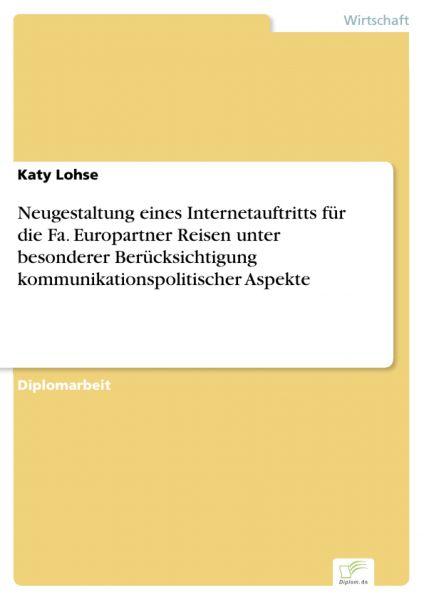 Neugestaltung eines Internetauftritts für die Fa. Europartner Reisen unter besonderer Berücksichtigu